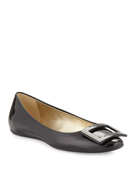 Gomette Patent Leather Flat, Black