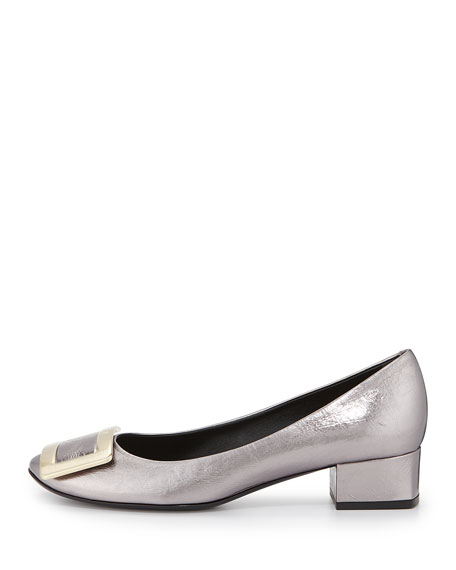 Roger Vivier Belle de Nuit Crushed Leather Pump, Gray Pearl