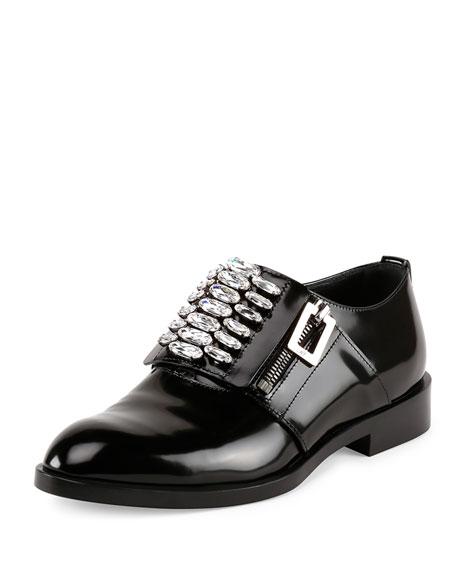 Roger Vivier Patent Leather Zip Oxford, Black