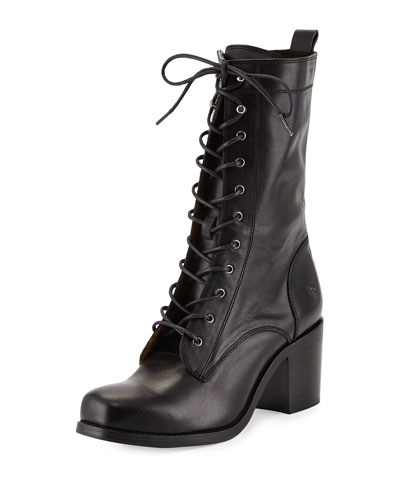Kendall Leather Lace-Up Boot, Black