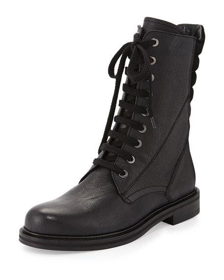Aquatalia Becca Sport Leather Wedge Boot, Black