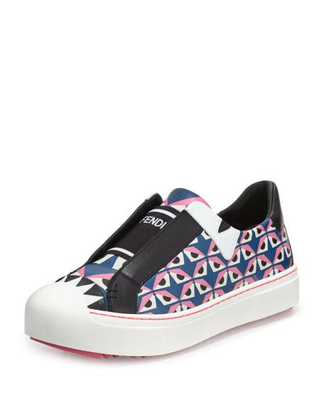 Fendi Bug Eyes Slip-On Sneaker, Royal Blue/Lollipop