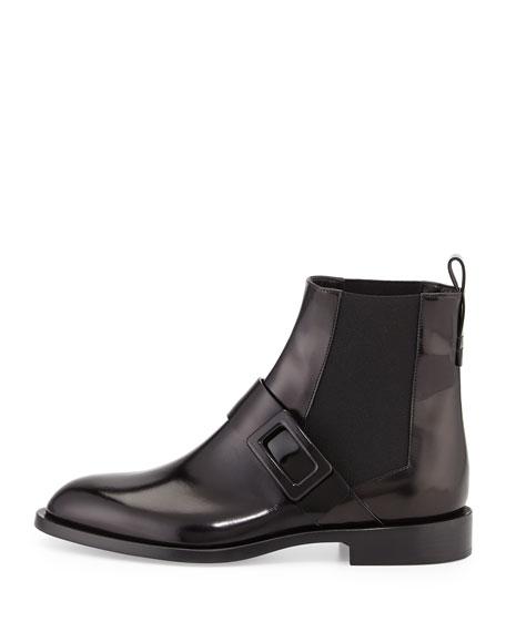 Roger Vivier Leather Logo-Buckle Chelsea Boot, Black