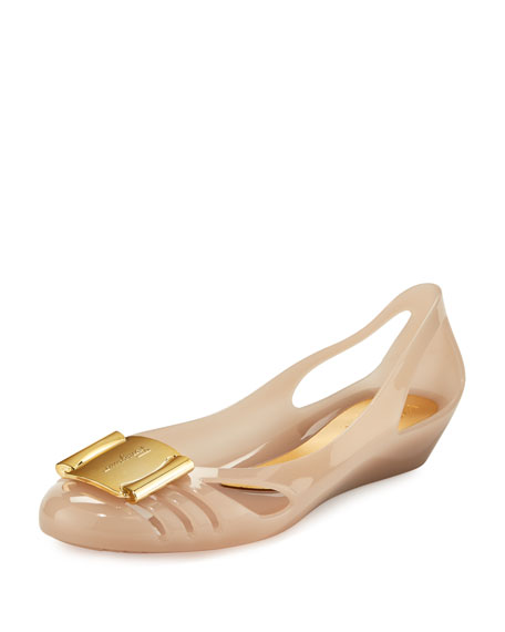 Salvatore Ferragamo Cutout Jelly Wedge Pump, Macaroon Gelato