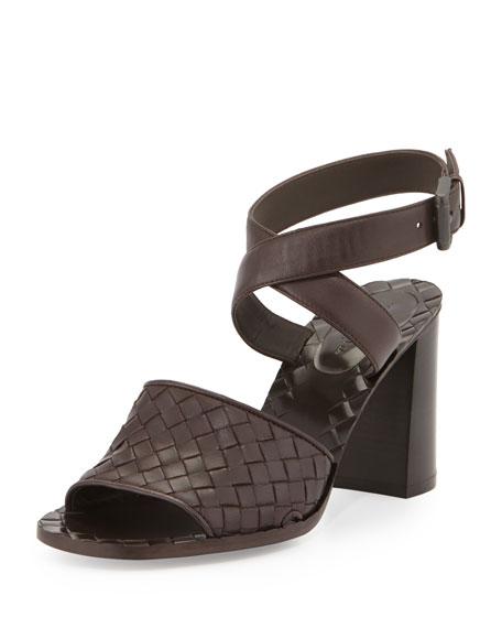Bottega Veneta Intrecciato Metallic Ankle-Wrap Sandal, Espresso
