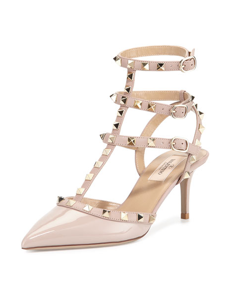 Valentino Rockstud Patent Leather Sandal, Powder (Poudre)