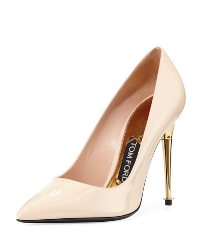 Patent Leather Pin-Heel Pump, Nude