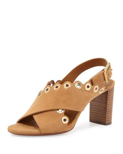 Eyelet-Studded Suede Sandal, Angora Beige