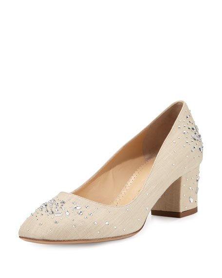 Charlotte Olympia Low-Heel Jeweled Linen Pump, Natural
