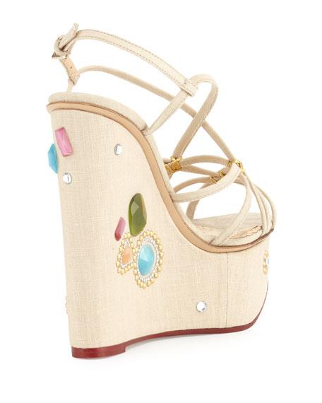 Charlotte Olympia Elizabeth Jeweled Wedge Sandals, Natural