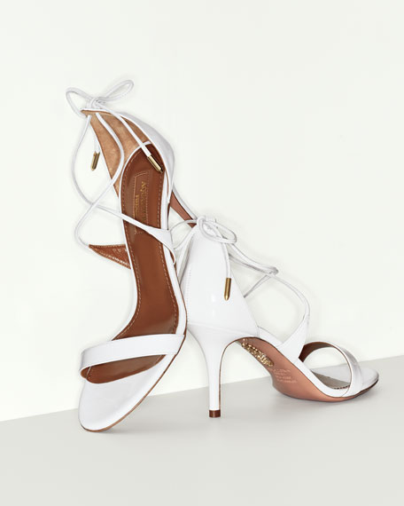 Linda Patent Leather 75mm Sandals, White