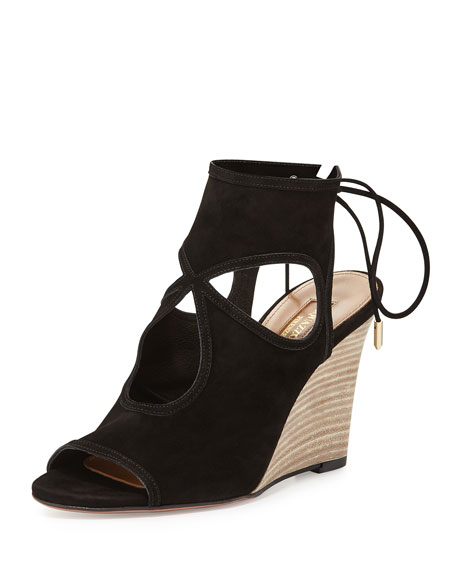 Aquazzura Sexy Thing Suede 85mm Wedge Sandal, Black