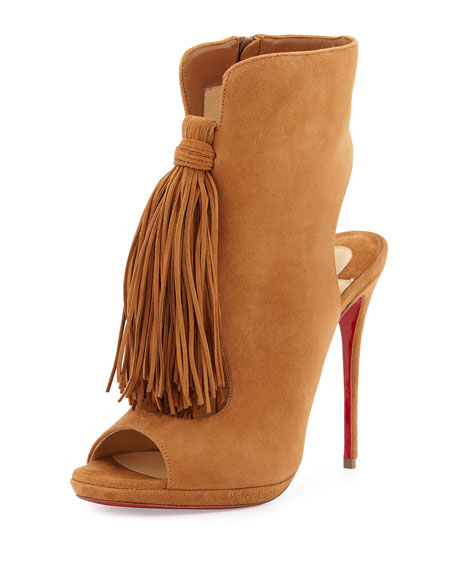 Christian Louboutin Ottaka Suede Fringe Red Sole Bootie, Noisette
