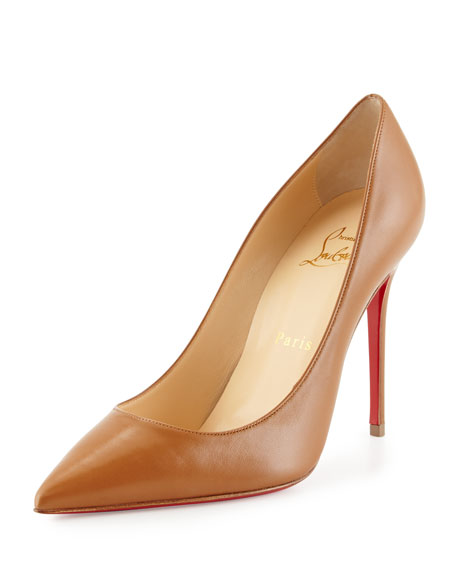 Christian Louboutin Decollette Leather 100mm Red Sole Pump, Noisette