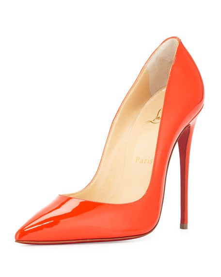 Christian Louboutin So Kate Patent 120mm Red Sole Pump, Cappucine