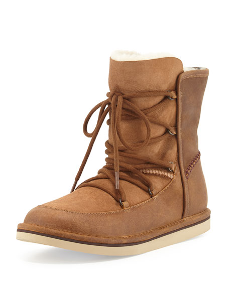 UGG Lodge Fur-Lined Lace-Up Boot, Chestnut