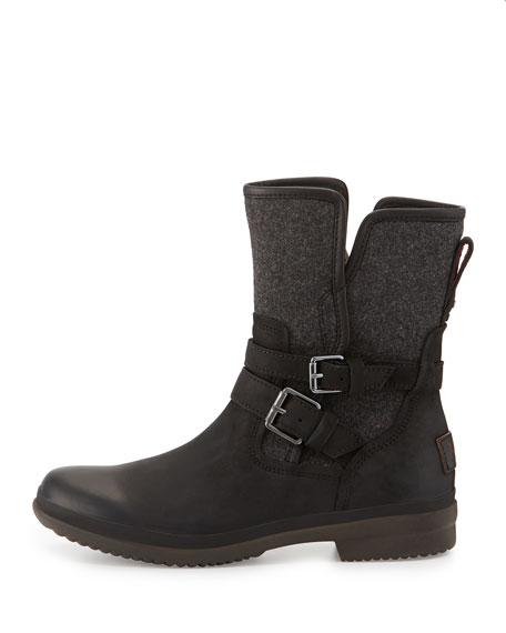 Simmens Leather & Flannel Boot, Black