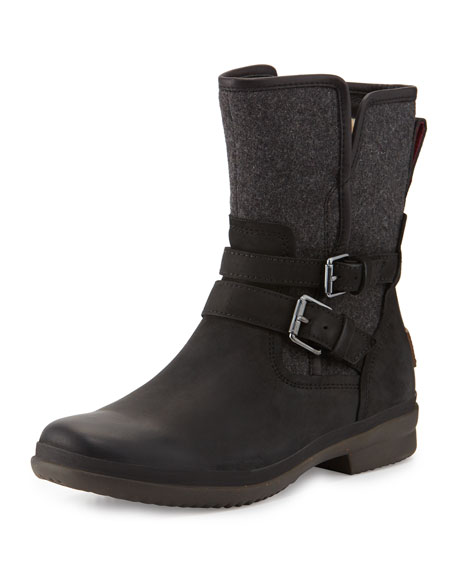 UGG Simmens Leather & Flannel Boot, Black
