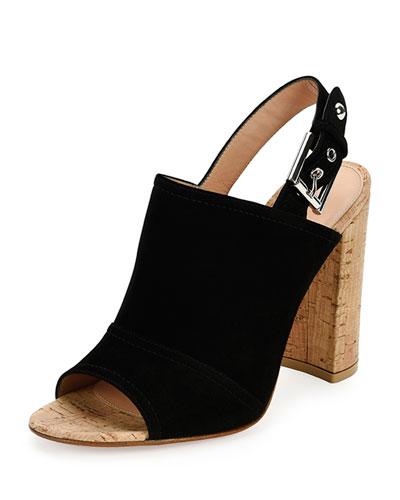 Suede Peep-Toe Slingback Sandal, Black