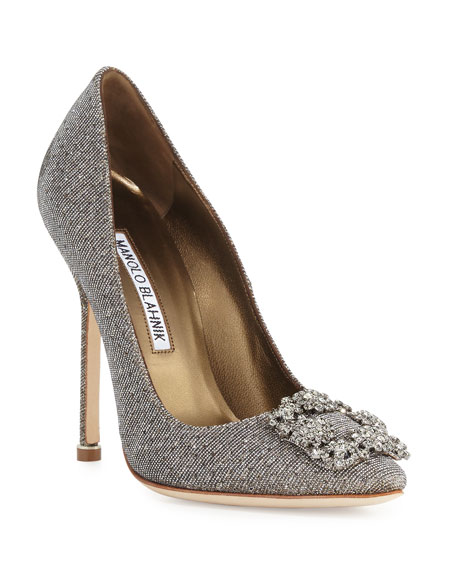 Manolo Blahnik Hangisi Crystal-Buckle Shimmery 115mm Pump, Gold