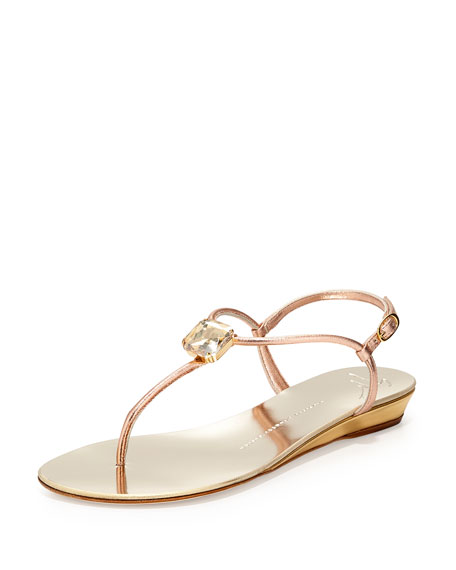 Crystal Demi-Wedge T-Strap Sandal, Ramino