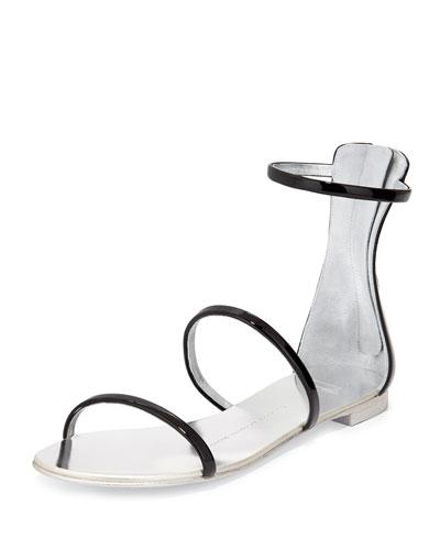 Three-Strap Patent Flat Sandal, Nero