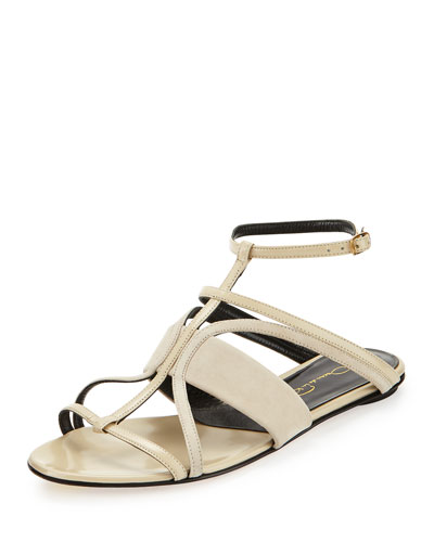Lexina Strappy Leather Sandal, Bisque