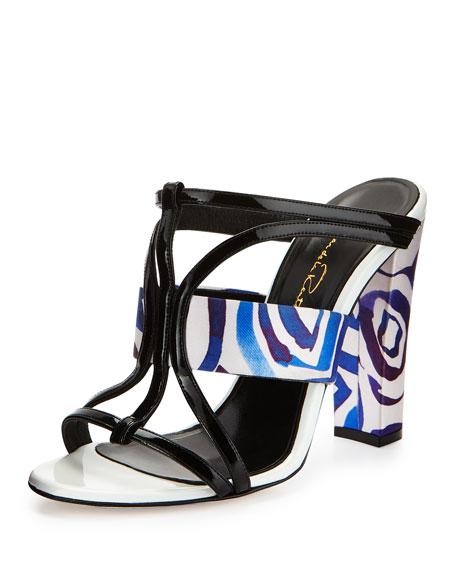 Oscar de la Renta Lonni Printed Satin Sandal Slide, Marine/Black/White