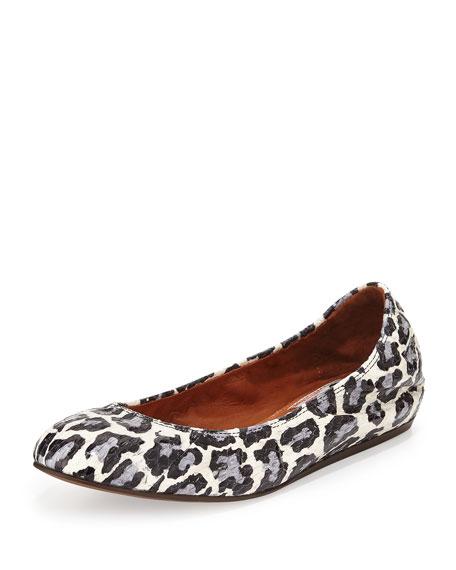 Lanvin Leopard-Print Watersnake Ballerina Flat, Black/White