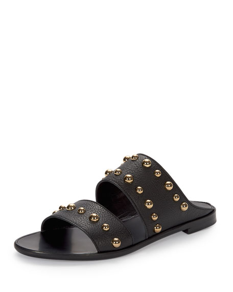 Lanvin Studded Leather Two-Band Mule, Black