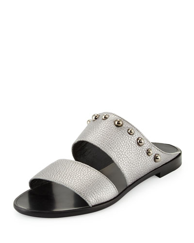 Studded Leather Two-Band Mule, Gunmetal