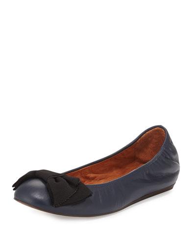Classic Bow Ballerina Flat, Dark Blue
