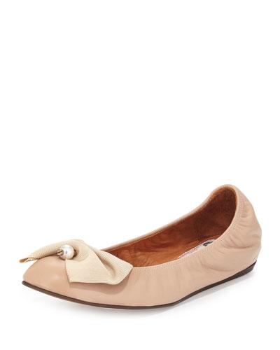 Pearly Bow Ballerina Flat, Nude