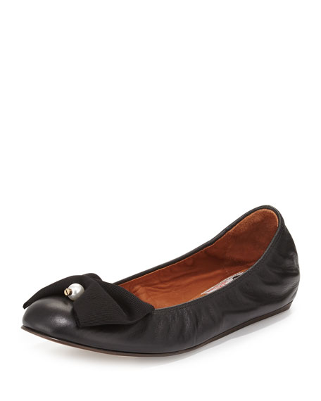Lanvin Pearly Bow Ballerina Flat, Black