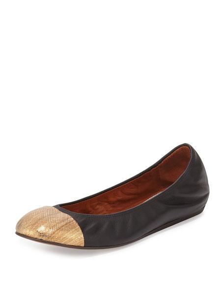 Lanvin Metallic Cap-Toe Ballerina Flat, Bronze