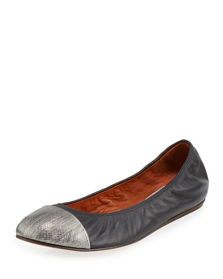 Lanvin Metallic Cap-Toe Ballerina Flat, Aged Silver