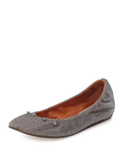 Metallic Beaded Ballerina Flat, Silver