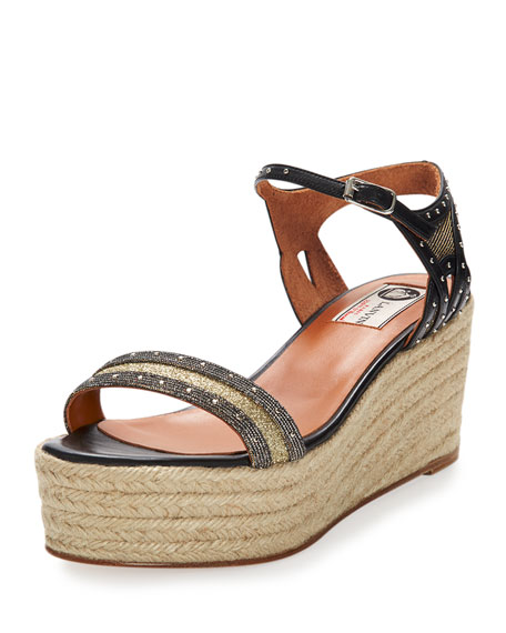 LanvinStudded Metallic Wedge Sandal, Gold