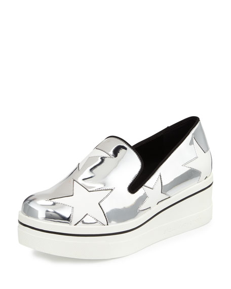 Stella McCartney Binx Metallic Star Loafer, Indium/White
