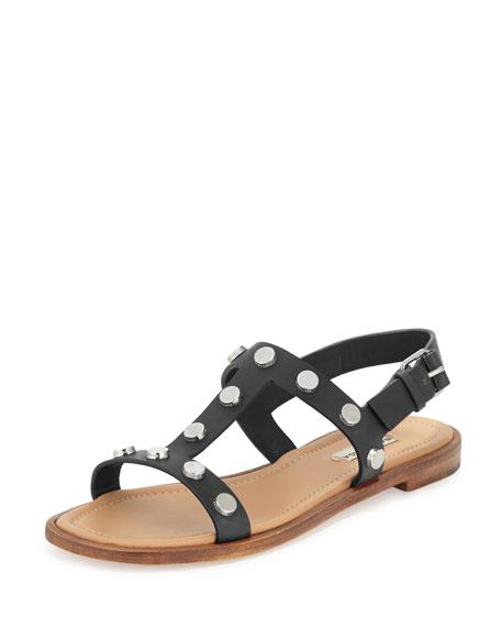 Balenciaga Studded Flat Slingback Sandal, Black