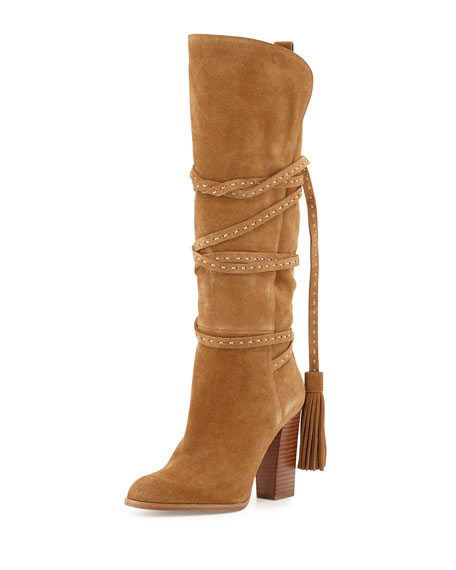 Michael Kors Collection Jessa Split Suede Wrap Boot, Camel