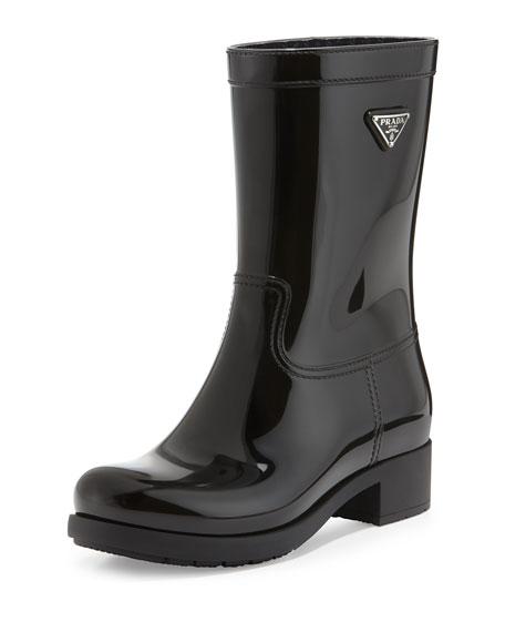 Prada Logo Sport Rubber Rain Boot, Black