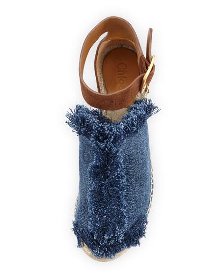 Frayed Denim Espadrille Sandal, Blue/Coffee