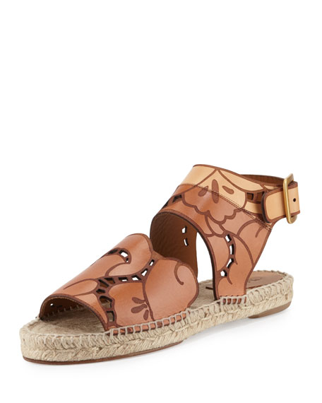 Chloe Tooled Leather Espadrille Sandal, Marron Glace