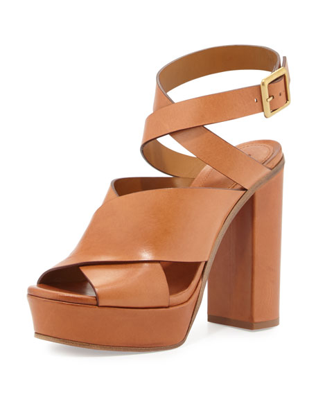 Chloe Matte Leather Ankle-Wrap Sandal, Marron Glace