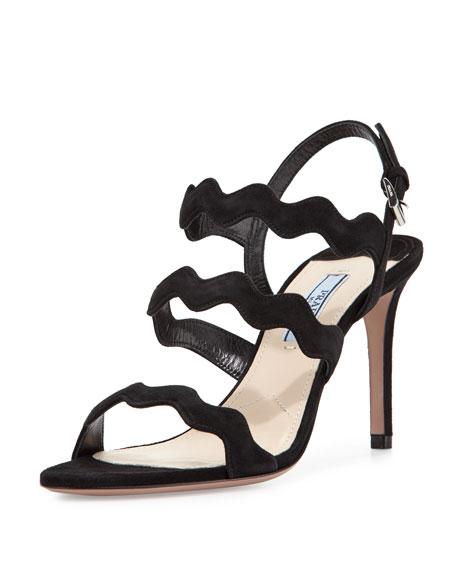 Prada Suede Wavy Strap Sandal, Black (Nero)