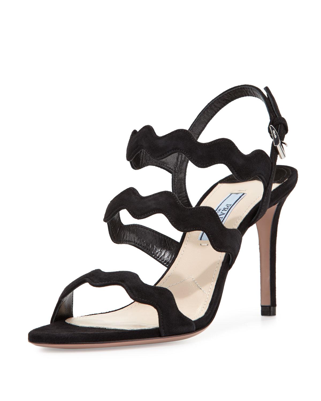 woven strap studded sandals - Black Prada 5l7k4ugS