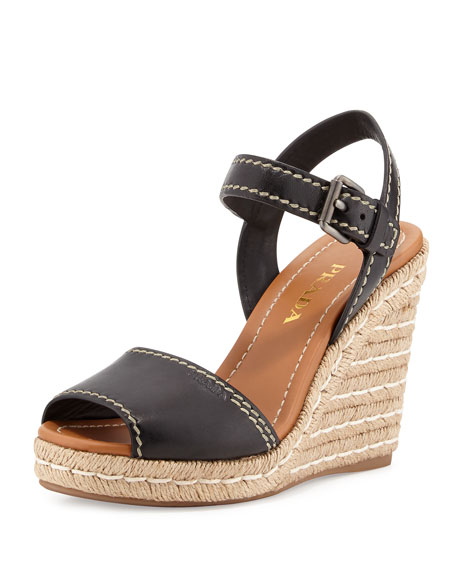 Prada Leather Espadrille Wedge Sandal, Black/Cognac