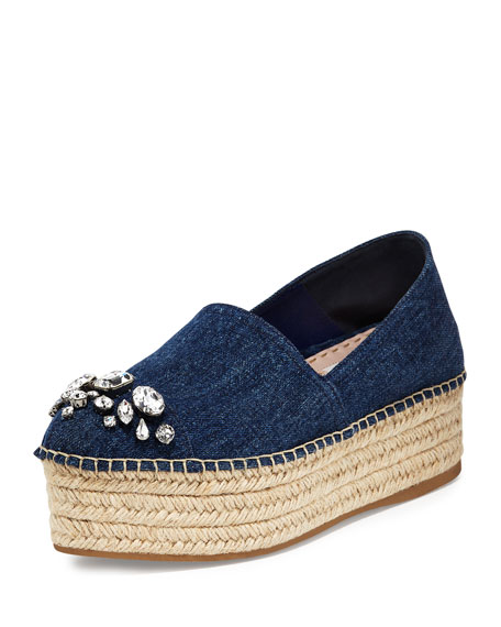 outlet very cheap cheap price cost Miu Miu Denim Flatform Espadrilles collections sale online cheapest price online buy online new cVN5ig