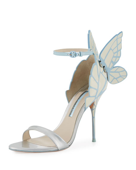 Sophia Webster Chiara Butterfly Wing Bridal Sandals Ice